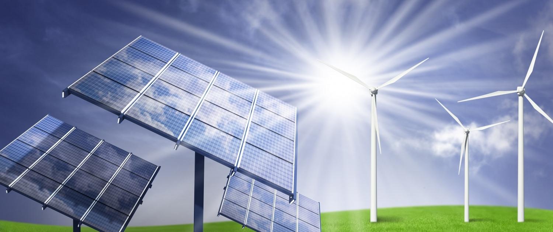 Illustration Sonnenenergie und Windenergie