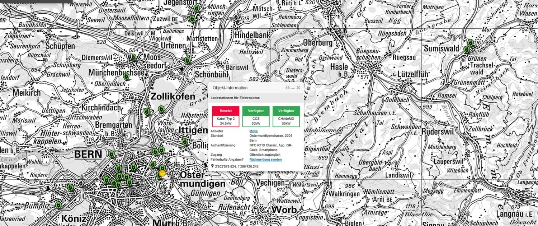 Interaktive Anwendung Ich-tanke-Strom.ch im Kartenviewer des Bundes