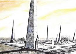 Ein bedrohlich gestaltetes Nadelfeld (‹Spike Field›) – so eine Vorstellung aus dem späten 20. Jahrhundert – könnte die Menschen von Endlagerstätten.