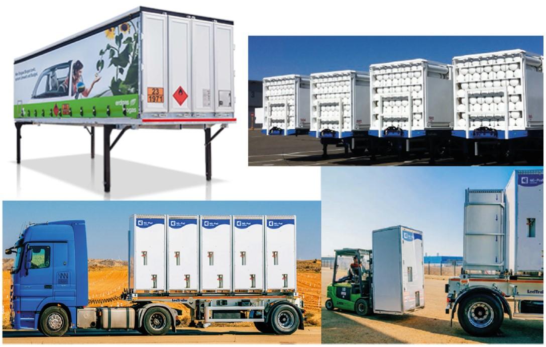 CNG-Transport-Systeme unterschiedlicher Hersteller für den Transport von Biogas
